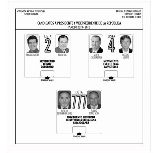 Boletín de voto. ANR
