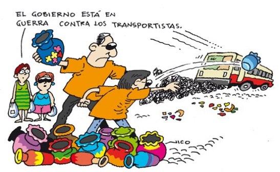 Guerra contra los transportistas. Dibujo Nico