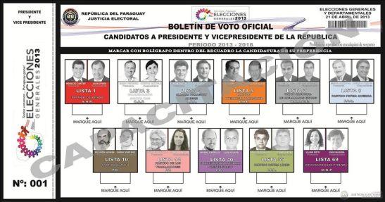 Boletin de voto 2013.