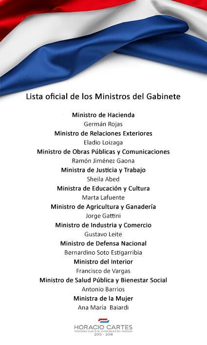 MINISTROS DE HORACIO CARTES. 2013