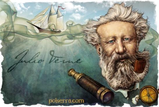 Julio Verne. Dibujo publicado en polserra