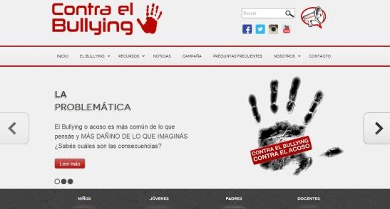 Portada del sitio de la campaña contra el Bullying